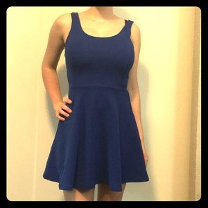 Royal blue ribbed dress